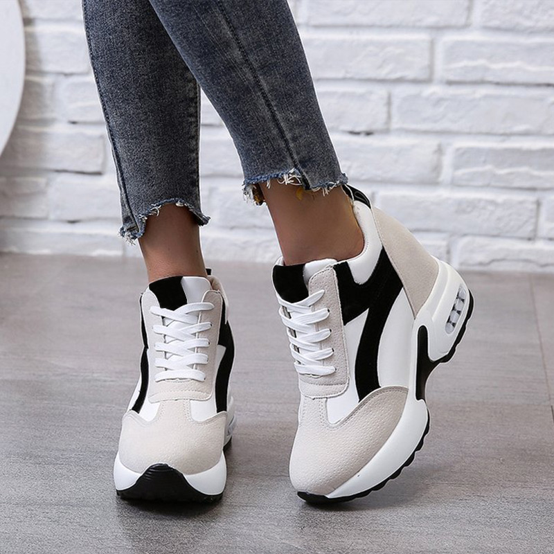 Women Platform Vulcanized Shoes Ladies Lace Up Casual Light Suede Shoes Woman Fashion Sneakers Female Ankle Heel Footwear 2020 4