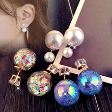 3 Pair/set Fashion Star Ice Crack Double-Side Rhinestone Pearl Stud Earrings For Women Accessories Jewelry Gift Charm Earrings pair of stylish double end crack bead earrings for women
