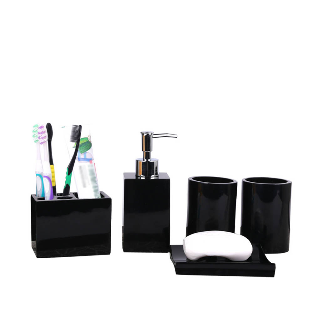 Distributeur de Lotion en résine 5 pièces | Porte-brosse à dents + porte-savon + 2 gobelets, vente