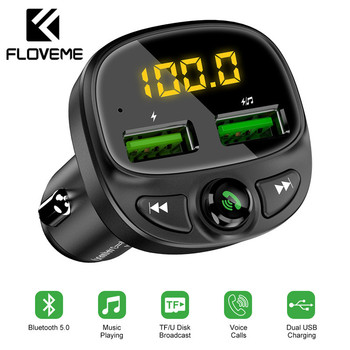 FLOVEME USB Car Charger For Phone Bluetooth Wireless FM Transmitter MP3 Player Dual USB Charger TF Card Music HandFree Car Kit 1