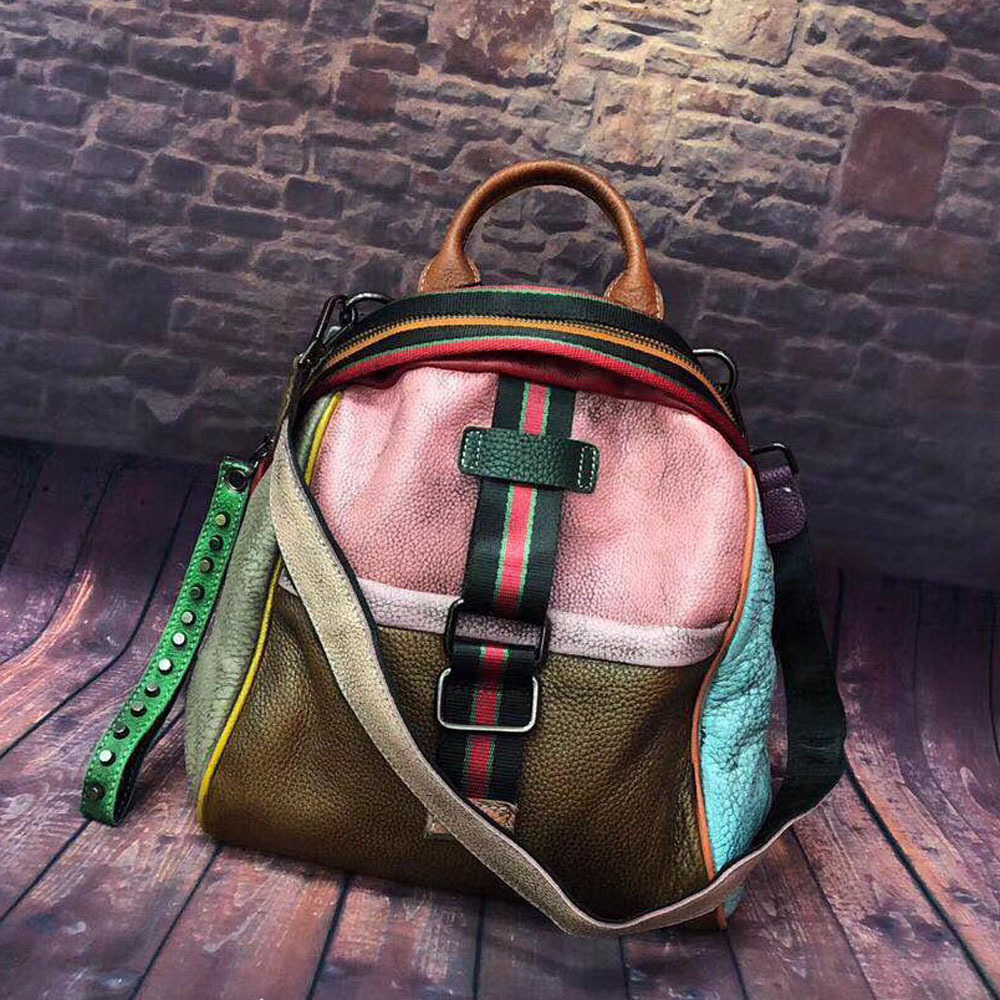 Women Backpack Genuine Leather Patchwork Backpacks European And American Style Cow Leather Colorful Bag For Women  Mochila 2019