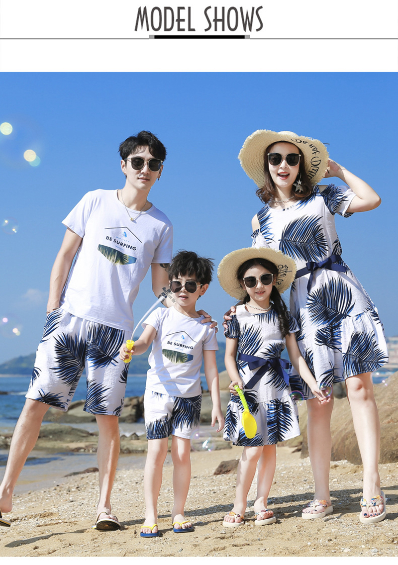H7b0aa003540f4044bf02cd4ed530b028N - Summer Family Matching Outfits Mother Daughter Beach Vocation Dresses Summer Dad Son T-shirt+Shorts Couples Matching Clothing