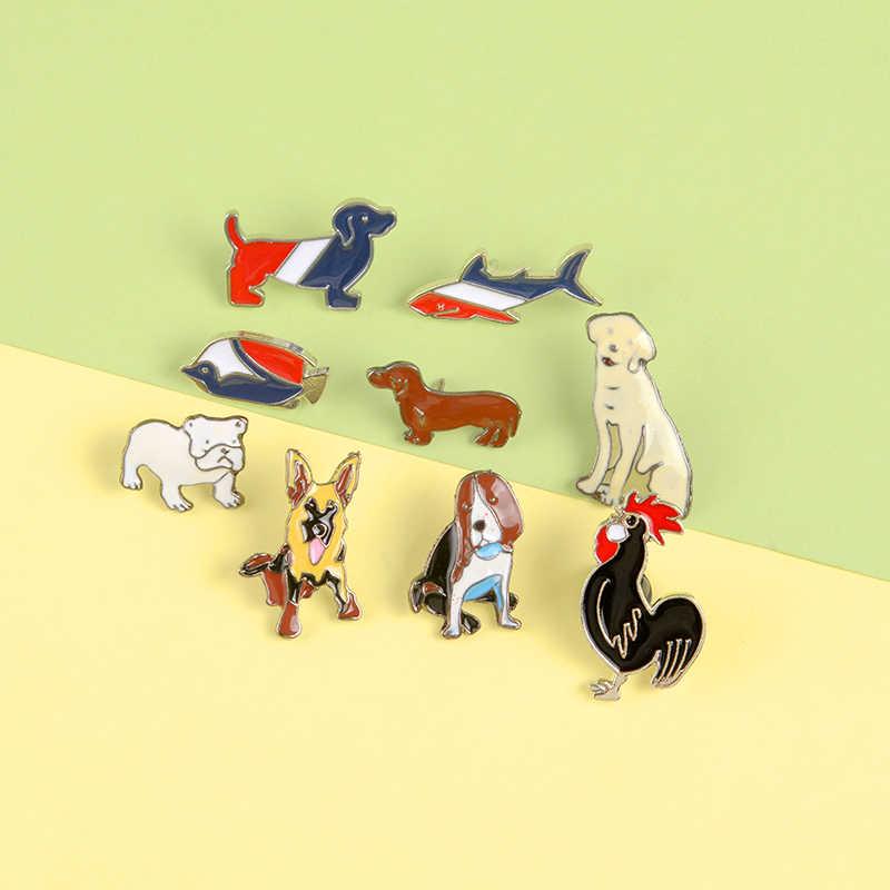 Berbagai Lucu Anjing Kerah Pin Gaya Realistis Minyak Lukisan Warna Bros Lencana Ransel Pin Kartun Perhiasan Hadiah untuk Teman