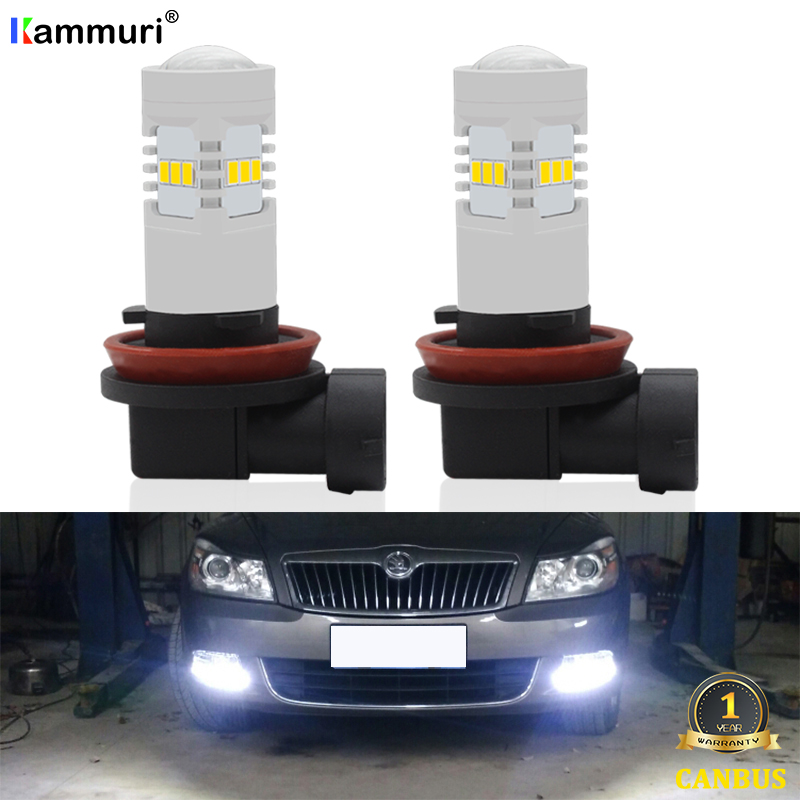 No Error White H11 H8 Car LED Bulbs Driving Fog Light Lamp Bulb For Skoda Octavia 1 2 3 MK1 MK2 MK3 5E 1Z 1U A5 A7 (1996-2019)