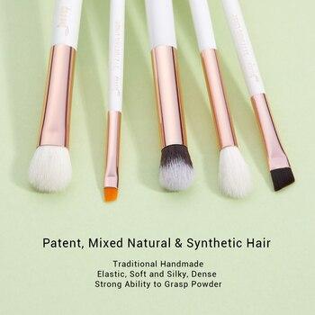 Jessup Pearl White/Rose Gold Professional Makeup Brushes Set Make up Brush Tools kit Eye Liner Shader natural-synthetic hair 1