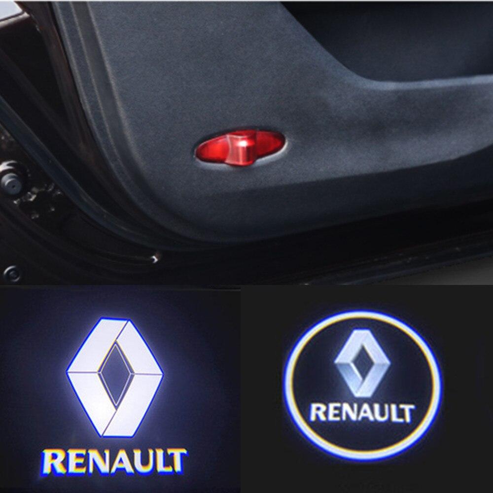 LED пригласительные огни в дверь автомобиля Светильник проектор логотип Лазерная лампа для Renault Latitude талисман Лагуна Magane Koleos 2017 + аксессуары ...