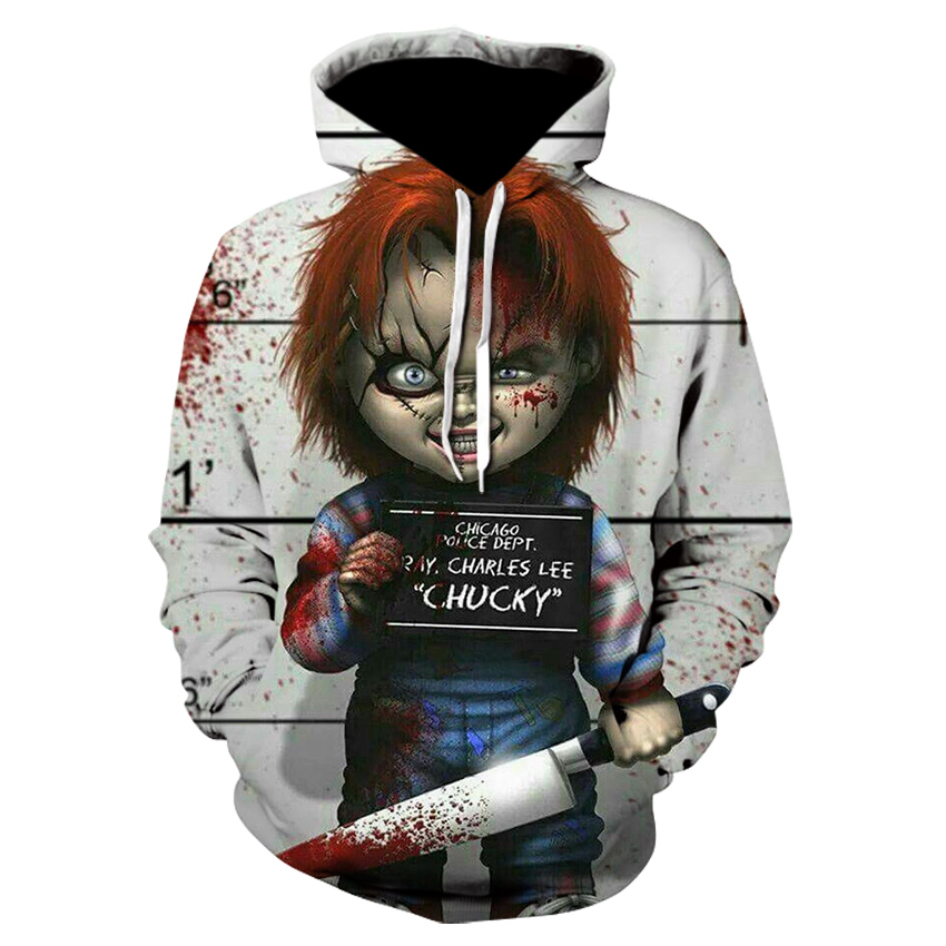 2019 New Arrival Horror Movie Child Of Play Character Chucky 3D Printed Fashion Hoodies Men Women Joker Clown Hooded Streetwear