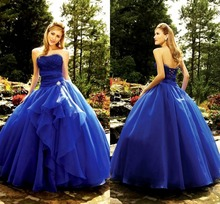 Royal Blue Floor Length Custom Lace Strapless Modern Plus Size Cheap Quinceanera Ball prom Gown 2018 mother of the bride dresses