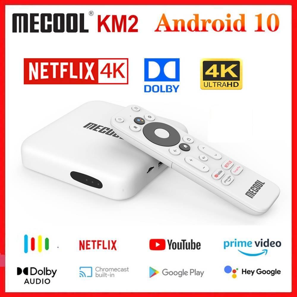 Mecool KM2 Google Сертифицированный Netflix 4K ТВ-приставка Android 10,0 медиаплеер Android 10 A TV BT 2T2R Dual Wifi Dolby аудио Prime видео