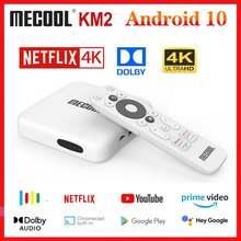 Mecool km2 google certificou netflix 4k caixa de tv android 10.0 media player android 10 atv bt 2t2r duplo wifi dolby áudio vídeo prime