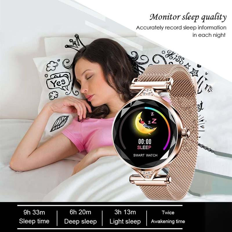 H7b0b6f893e8e42cbafa83ba7d04f6c0bj 2021 Fashion Smart Watch Women IP68 waterproof Multi-sports modes Pedometer Heart Rate smartwatch Fitness Bracelet for Lady Gift