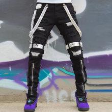 Jeans hombres arrancó los pantalones vaqueros flacos hombres cremallera Hip Hop Jeans de diseñador para hombres Mediados de cintura pantalones de Vaqueros pitillo