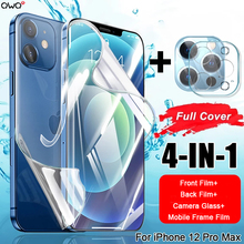 4-IN-1 Front Back Hydrogel Film For iPhone 12 Pro Max Mobile Phone Frame Film For iPhone 12 mini Camera Glass Screen Protector