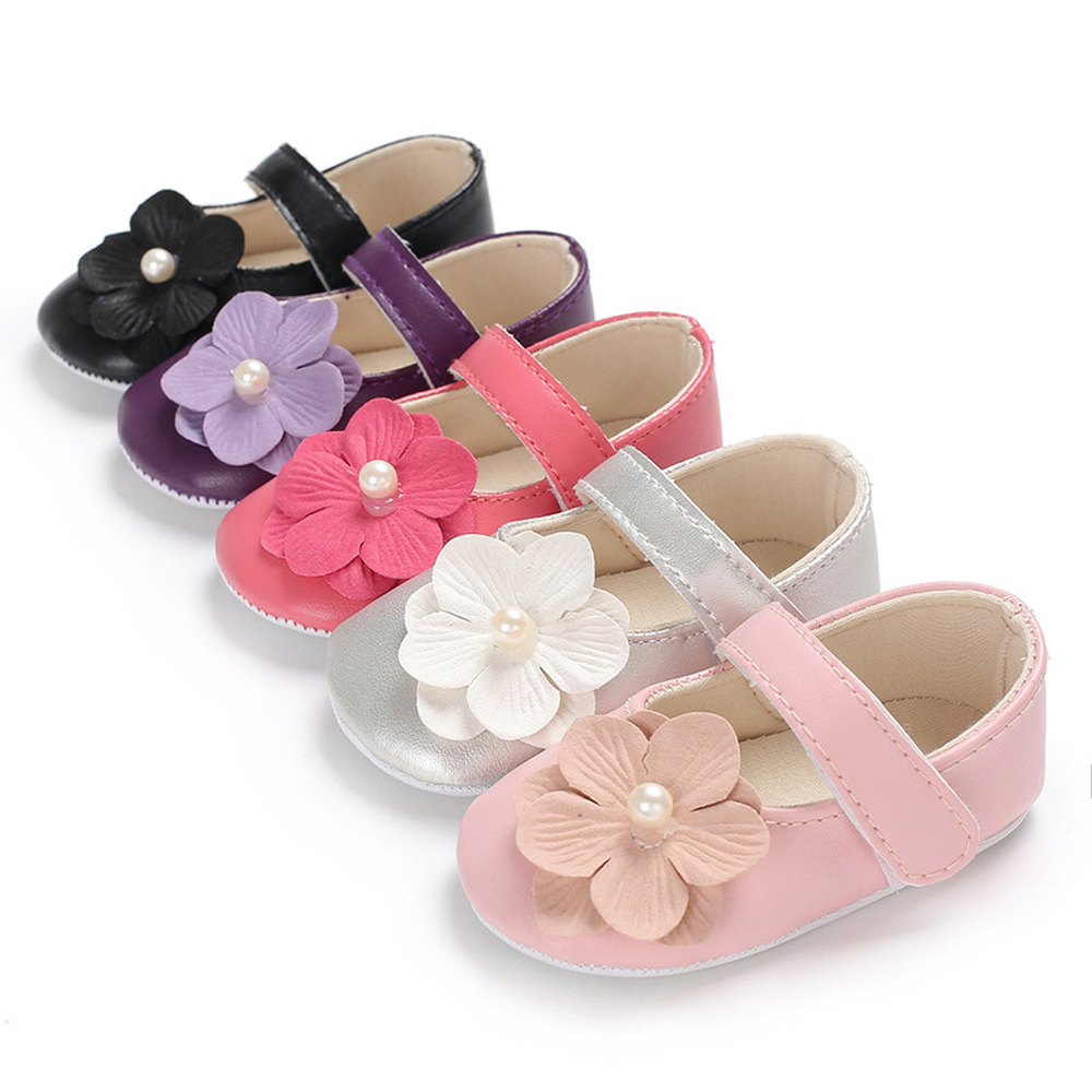 Newborn Toddler Baby Girl Shoes Cotton Soft Sole PU Leather Solid Flower Infant First Walkers  Princess Baby Crib Shoes Purple