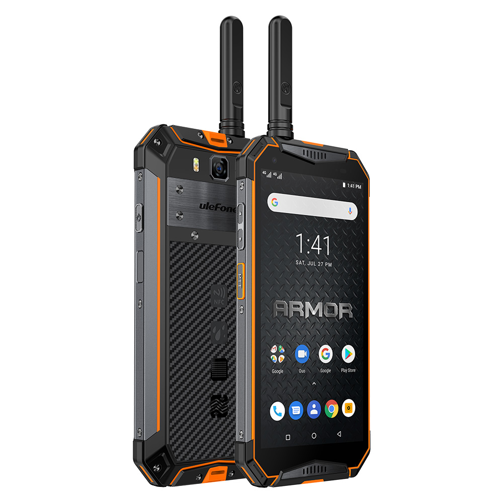 Ulefone Armor 3WT PTT WalkieTalkie Rugged Mobile Phone  WiFi Android 9.0 6GB 64GB 10300mAh NFC 4G Globalvision Smarphone