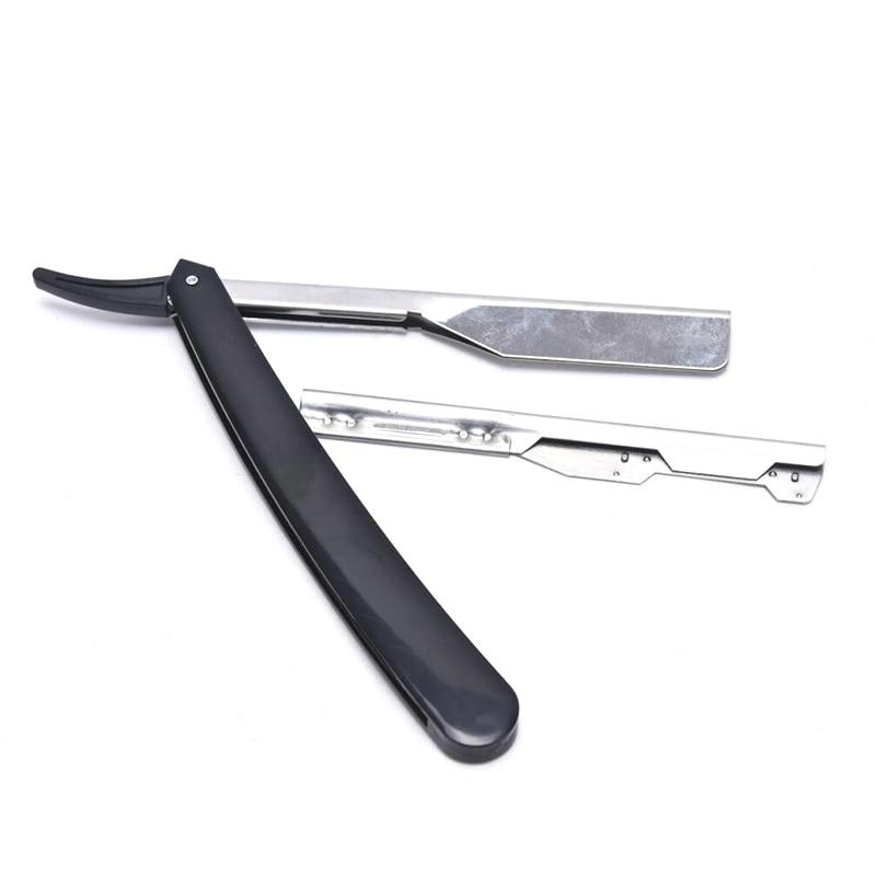 1 adet Pro manuel tıraş makinesi düz kenar paslanmaz çelik keskin berber jileti katlanır tıraş tıraş bıçak düz jilet aracı