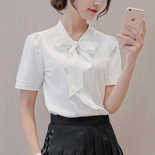 Paris Tower New lacing Sleeve chiffon blouse long/short sleeve office women tops and blouses Summer Elegant shirts Strap bow(China)
