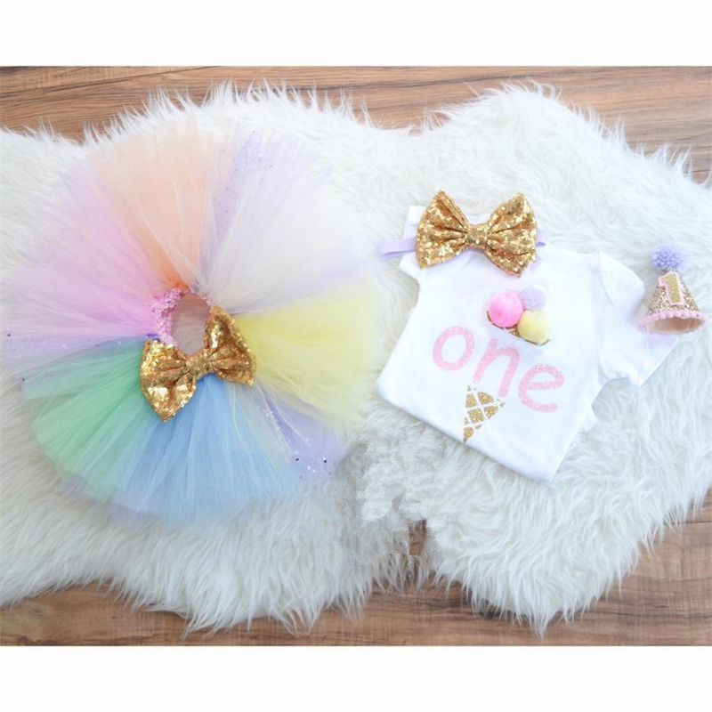 Summer Baby Girls Clothes Rainbow Color Tutu Dress Number one Printed Tops 1 Year Birthday Party Dress Newborn Princess Clothing