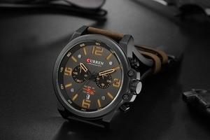 Image 3 - CURREN Мужские часы, лучший роскошный бренд, водонепроницаемые, спортивные, наручные часы, хронограф, кварцевые, военные, кожаные, мужские часы