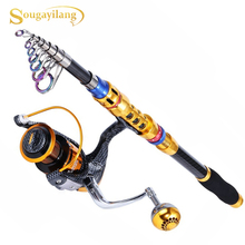 Sougayilang 1.8M-3.3M Portable Telescopic Fishing Rod and Reel Combos Travel Carbon Spinning Fishing Pole with Spinning Reel Set