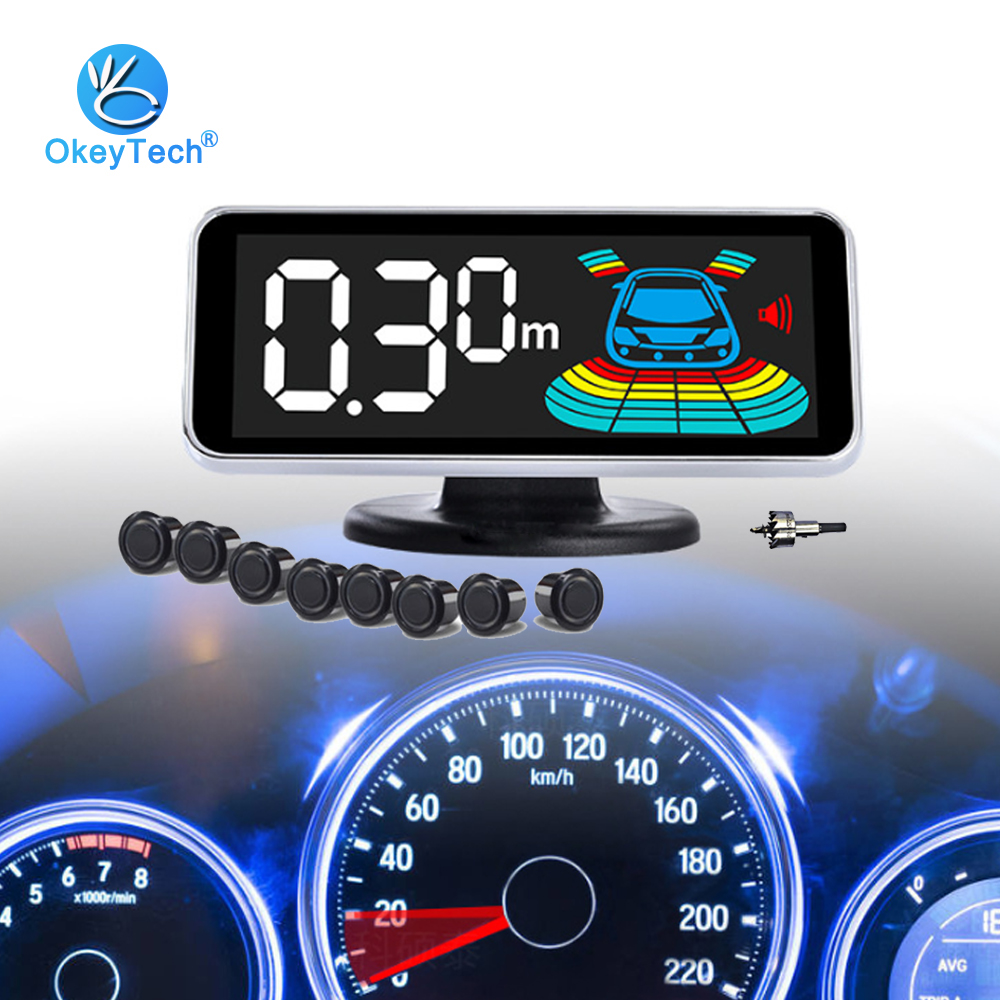Okeytech Car-Parking-Sensor-Kit Monitor-Drill Reverse-Radar-Detector-System Reversing-Camera