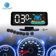 OkeyTech cámara de marcha atrás Parktronic Led, Kit de 8 sensores de aparcamiento de coche, sistema de detección de Radar inverso, taladro de Monitor