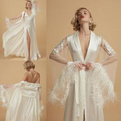 Nach Maß Vintage Nacht Robe Mit Langen Ärmeln Feder Nachtwäsche Sets 2 Pcs Spitze Appliques Sexy Party Nachthemden Roben