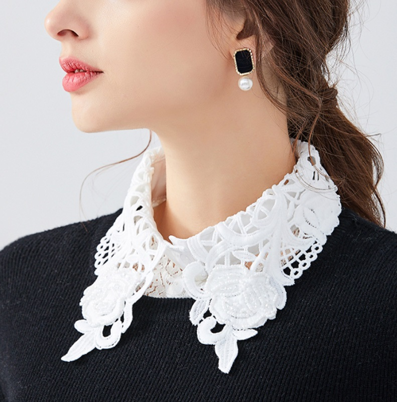 Elegant Lace Collars For Women Shirt Fake False Collar With Beads White Detachable Collar For Women Half Shirt Col Nep Kraagie