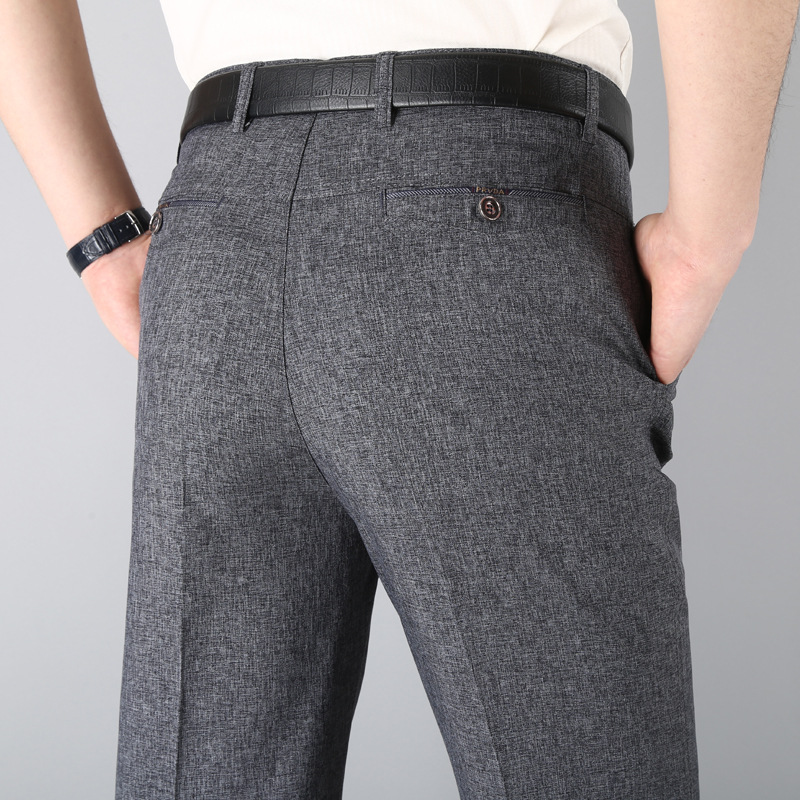 Summer Casual Pants Men's Thin Middle-aged Men Loose-Fit Trousers 40-Year-Old 50 Dad Suit Pants Middle Aged And Elderly People M