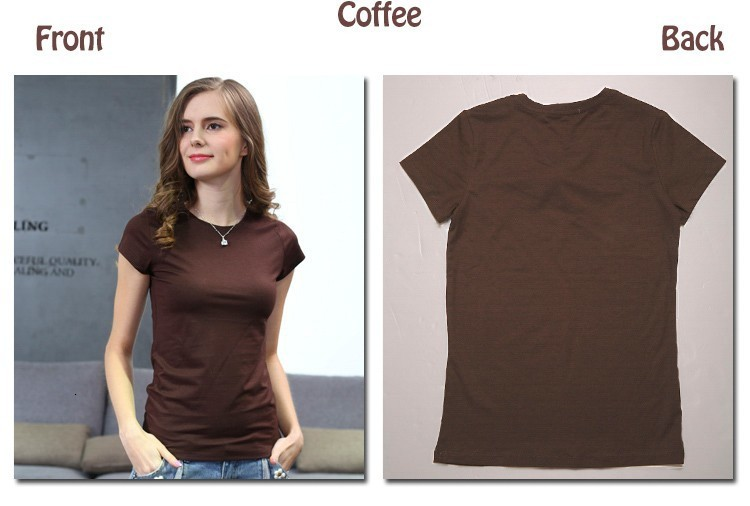 High Quality Plain T Shirt Women Cotton Elastic Basic T-shirts 23