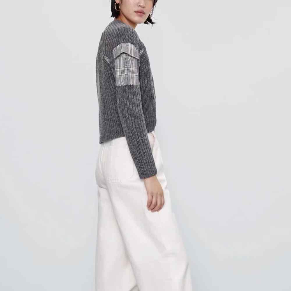 Za 女性秋冬ニットステッチラグランスリーブチェック柄ポケットセータープルオーバーシックなプルの女性の女性服ジャンパー