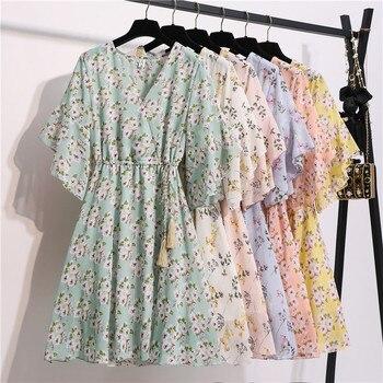 Spring Summer Chiffon Dress Women Knee Length V-Neck Print Dresses Sweet Ruffle Sleeeve Slim New Casual Drawstring Women Dress 5