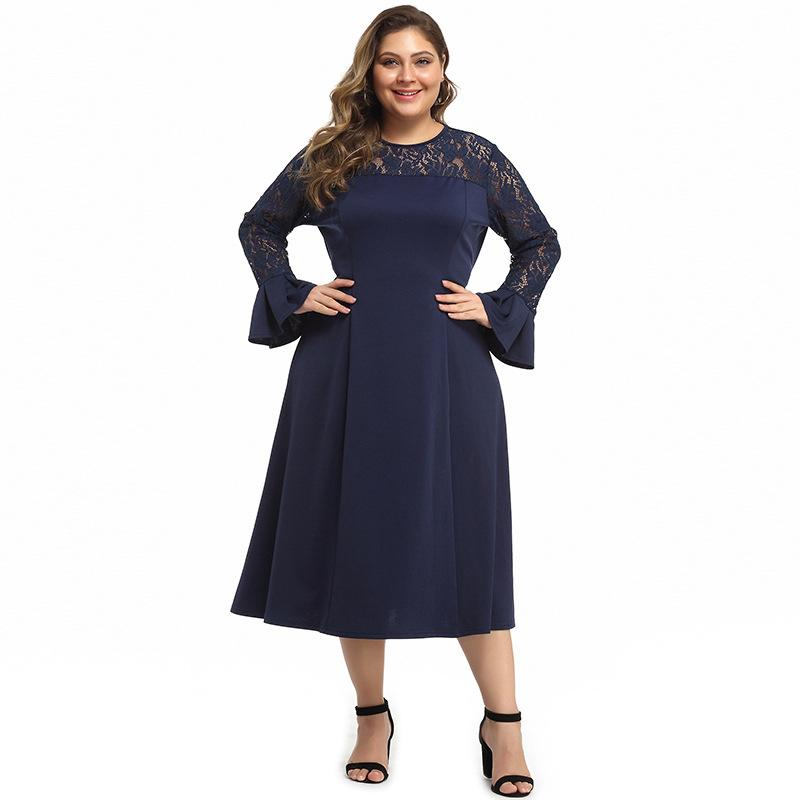 XL-5XL Large size Women Long Lace Dress 2019 Casual Autumn Sleeve Evening Party Bell Lady Plus