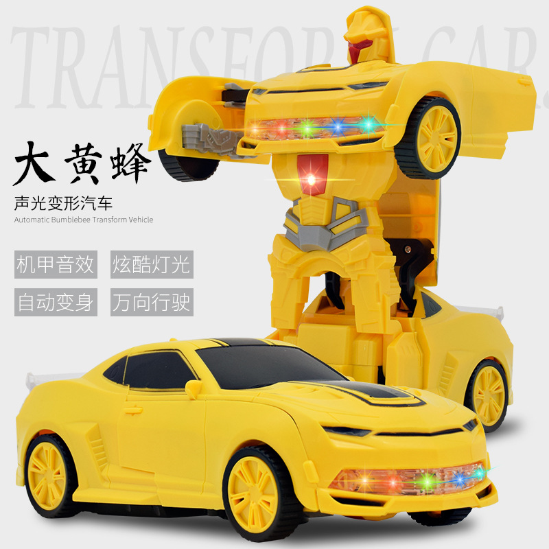 Electric Transformation Bumblebee Robot Model Children Universal Jingang Educational Toy Car With Light And Music Car