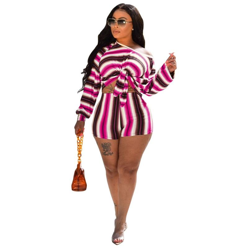2020 Women 2 Piece Set Summer Bow Tie Slash Tops Add Shorts Women Set Outfits Club Women Sets Clothes Womens Clothing Streetwear