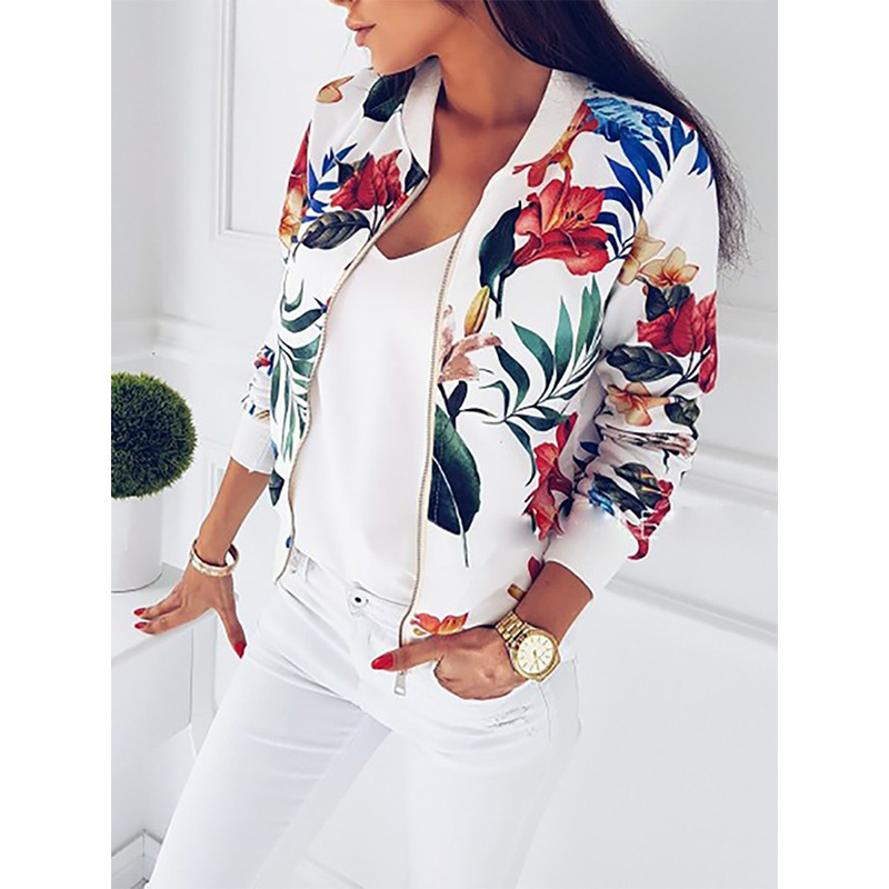 Women Coat Fashion Ladies Jackets Retro Floral Zipper Jacket Up Bomber Casual Coats Autumn Outwear Womens Clothes New