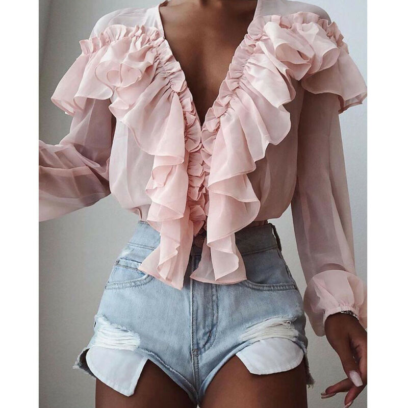 Women Elegant Chiffon Casual Solid Color Shirts V-Neck Ruffles Trim Long Sleeves Loose Blouse Female Flounce Pink Blouse Tops