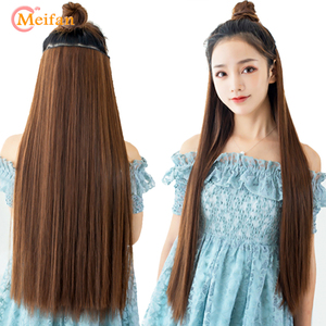 MEIFAN Long Straight Hair Pieces Clips in Hair Extensions High Temperature Fiber Synthetic Natural Black Blonde Fake Hairpieces