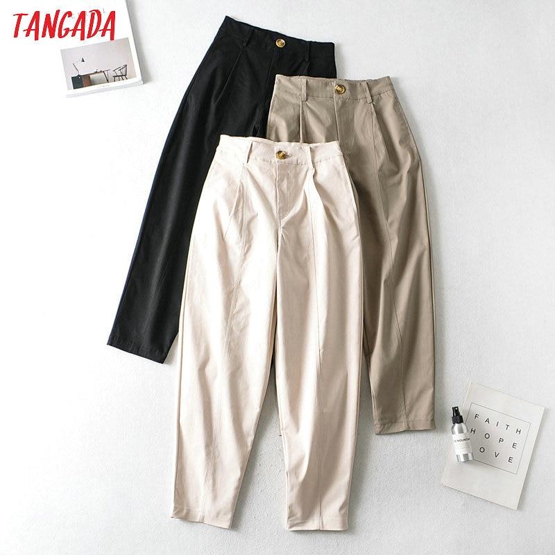 Tangada Fashion Women High Waist Cotton Pants Trousers Pockets Buttons Office Lady Pants Pantalon AI08