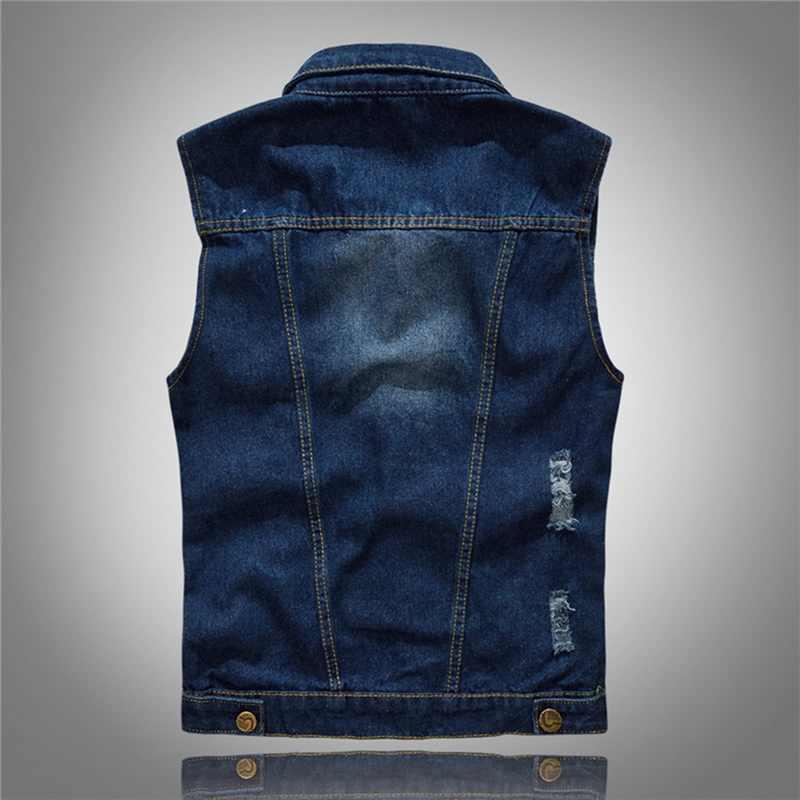 CYSINCOS 캐주얼 청바지 민소매 자켓 조끼 남성 Streetwear 블루 데님 가디건 조끼 플러스 사이즈 카우보이 조끼 남성 자켓