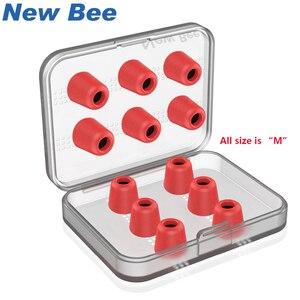 Image 1 - 6 пар сменных насадок для наушников New Bee, шумоизоляция, красные амбушюры из пены с эффектом памяти, вкладыши для наушников вкладышей