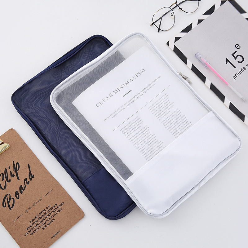 4pcs Transparent Mesh Document Bag File Folder A4 Zipper Document Organizer Case Paper Holder Office School Folders Muji Style