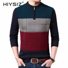 HIYSIZ Brand 2019 Streetwear Winter Autumn Knit pull Sweater Men Trend O-Neck Pull Homme Casual Men Stripe Clothes H3019