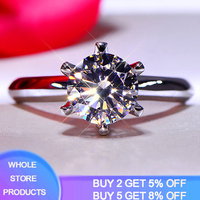 Diamond Test Positive! Classic 0.5ct 1.0ct 1.5ct 2.0ct 3.0ct Moissanite Ring Original Solid White Gold Wedding Rings For Women