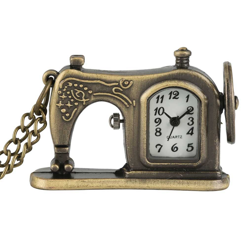 Little Cute Retro Antique Bronze Sewing Machine Quartz Pocket Watch Creative Necklace Pendant Unique Souvenir Gift For Men Women