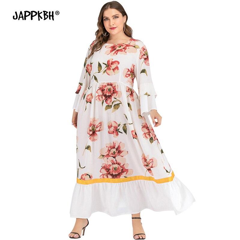 Spring Summer Dress Women 2020 Casual Plus Size Slim Floral Print Maxi Dresses Elegant Sexy A Line Boho Beach Long Party Dress