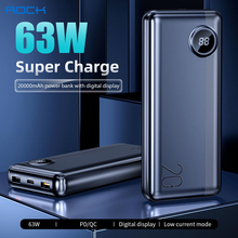 ROCK 20000mAh laptop Power Bank batterie externe PD 63W Fast Charging Powerbank for iPhone Xiaomi Samsung Switch Macbook pro