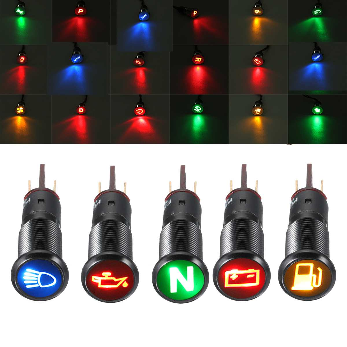 6-36V 14MM LED Indicator Light Lamp Dash Panel Warning Light Metal Push Button Switch On Off For Car Yacht Ship Truck Van