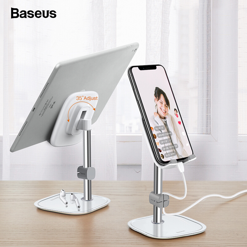 Baseus Desk Mobile Phone Holder Stand For IPhone Cell Universal Adjustable Metal Desktop Table Tablet Holder Stand For IPad Pro