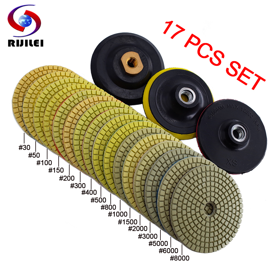 RIJILEI 17PCS 4inch Diamond Polishing Pad Kit 100mm Dry/wet Polishing Pads For Granite Marble Concrete Floor Grinding Discs